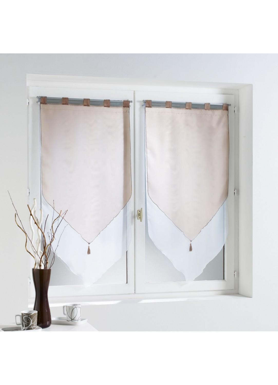 paire de voilage bicolore pompons et passants taupe drag e amande aubergine. Black Bedroom Furniture Sets. Home Design Ideas