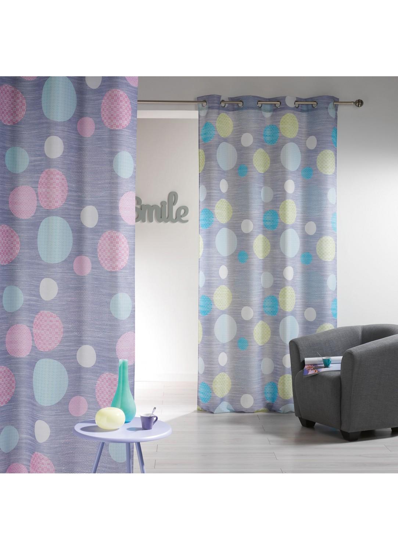 rideau imprim avec oeillets gros pois vert rose homemaison vente en ligne rideaux. Black Bedroom Furniture Sets. Home Design Ideas
