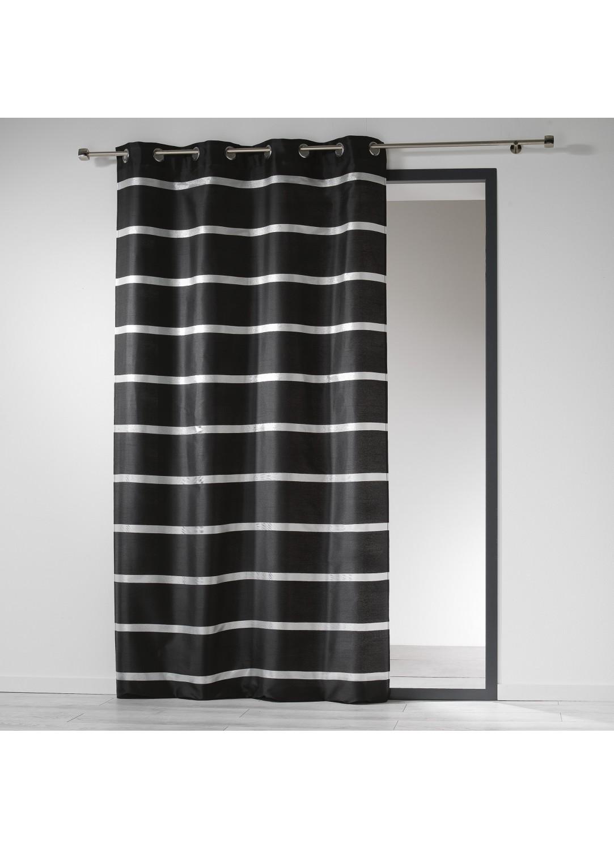 rideau en shantung ray argent avec oeillets noir gris homemaison vente en ligne rideaux. Black Bedroom Furniture Sets. Home Design Ideas