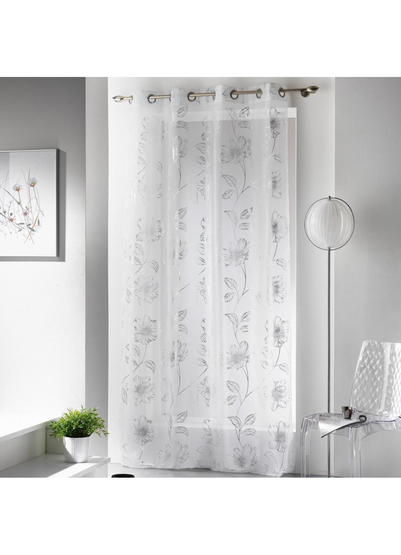 voilage imprim guirlande de fleurs argent. Black Bedroom Furniture Sets. Home Design Ideas