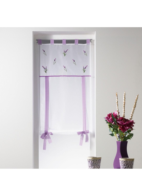 store droit avec parement brod lavande blanc violet homemaison vente en ligne stores. Black Bedroom Furniture Sets. Home Design Ideas