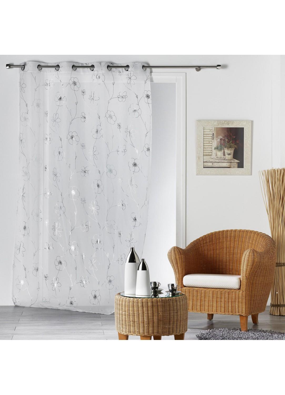 voilage imprim fleurs m lang es argent es argent. Black Bedroom Furniture Sets. Home Design Ideas