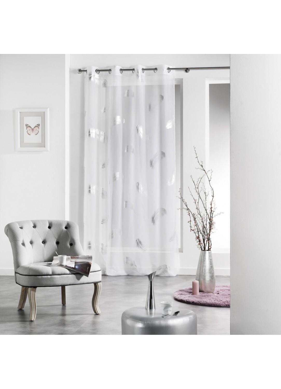 voilage imprim plume blanc drag e perle. Black Bedroom Furniture Sets. Home Design Ideas