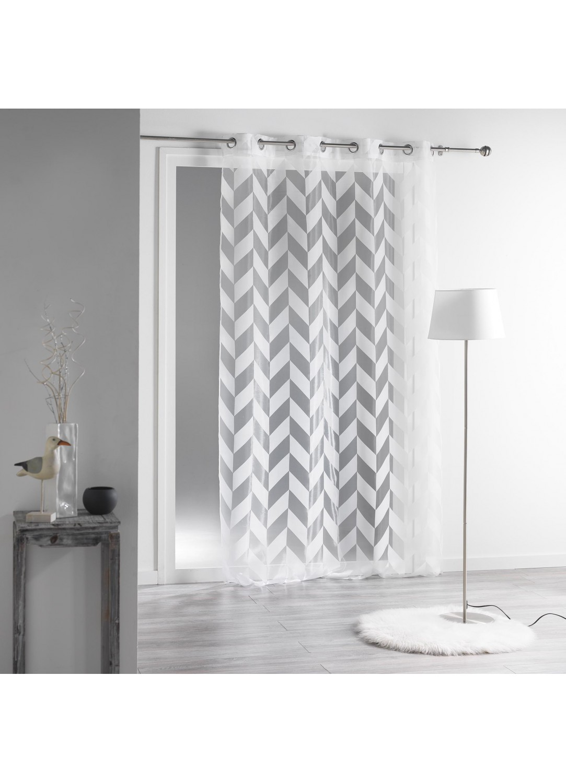 voilage esprit graphique en organza d vor blanc lin homemaison vente en ligne voilages. Black Bedroom Furniture Sets. Home Design Ideas
