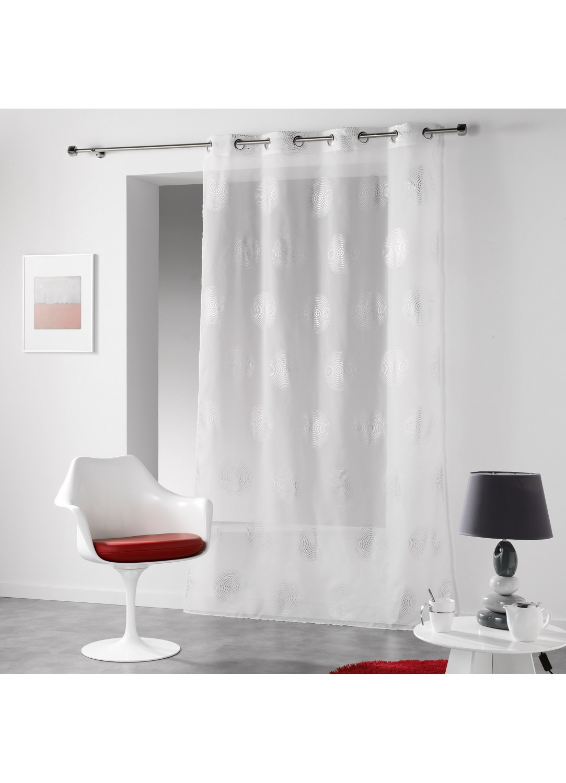 voilage imprim oeillets cercles hypnotiques blanc rouge gris anthracite. Black Bedroom Furniture Sets. Home Design Ideas