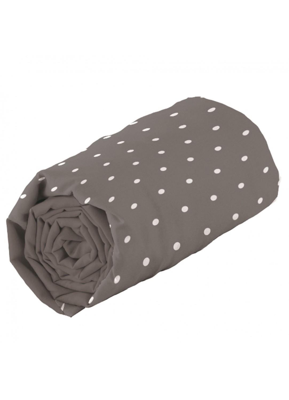 drap housse taupe pois une personne taupe homemaison vente en ligne draps housses. Black Bedroom Furniture Sets. Home Design Ideas