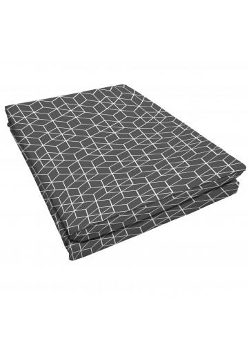 Drap Plat à Motifs Graphiques / Deux personnes - Anthracite - 240 x 300 cm. Cedrap platdestiné à un lit deux personne
