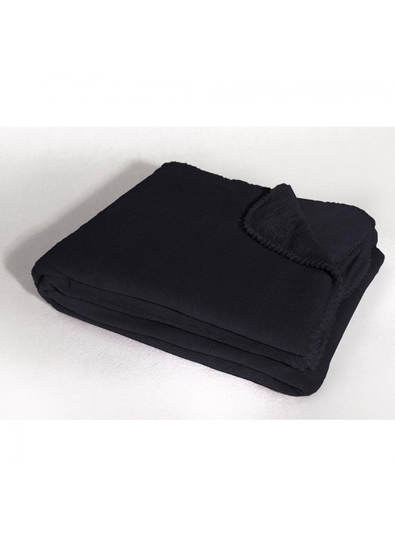Jet de canap uni en polyester noir drag e rouge for Jete de canape noir