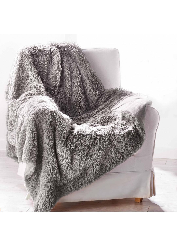 plaid en fausse fourrure marmotte gris rouge. Black Bedroom Furniture Sets. Home Design Ideas