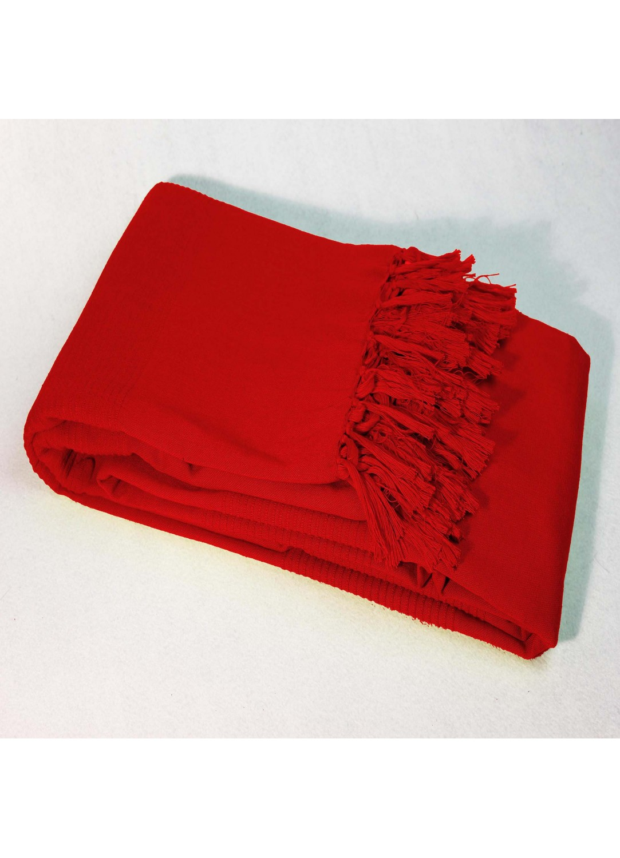 Jete De Canape Uni Et A Franges En Pur Coton Rouge Fuchsia