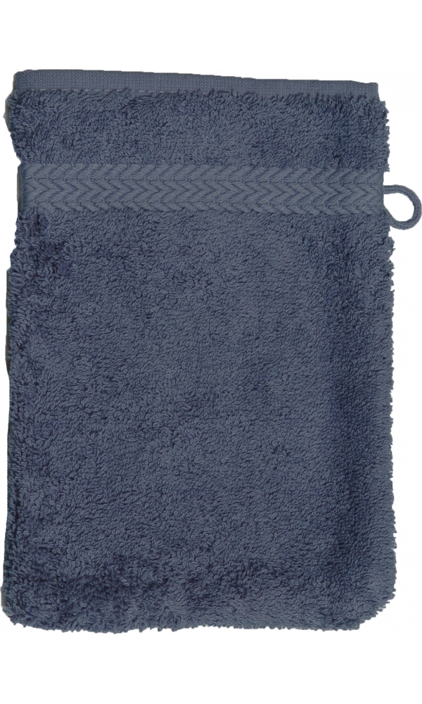 Gant de toilette 16 x 22 cm en Coton couleur Bleu jean
