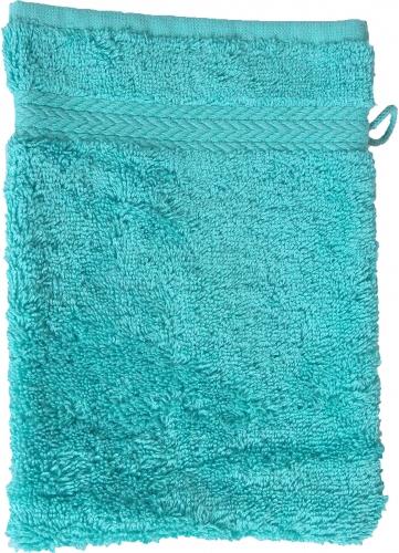 Gant de toilette 16 x 22 cm en Coton couleur Bleu turquoise