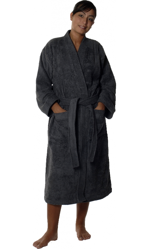 Peignoir col kimono en Coton couleur Anthracite Taille M