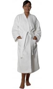 Peignoir col kimono en Coton couleur Blanc Taille L