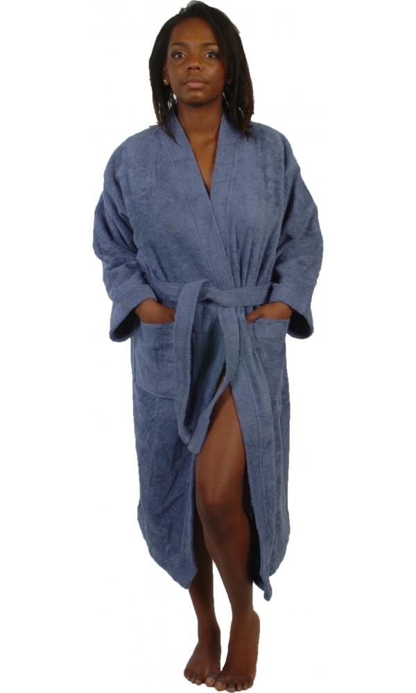 Peignoir col kimono en Coton couleur Bleu jean Taille L (Bleu Jean)