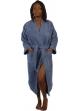 Peignoir col kimono en Coton couleur Bleu jean Taille L Bleu Jean