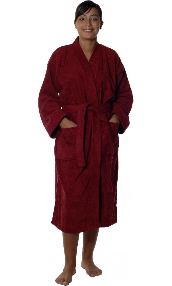 Peignoir col kimono en Coton couleur Bordeaux Taille L