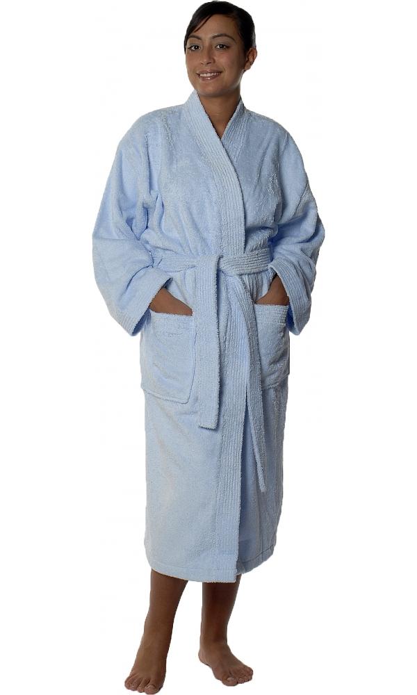 Peignoir col kimono en Coton couleur Ciel Taille S (Ciel)