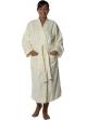 Peignoir col kimono en Coton couleur Ecru Taille S Ecru