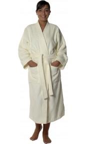 Peignoir col kimono en Coton couleur Ecru Taille XL