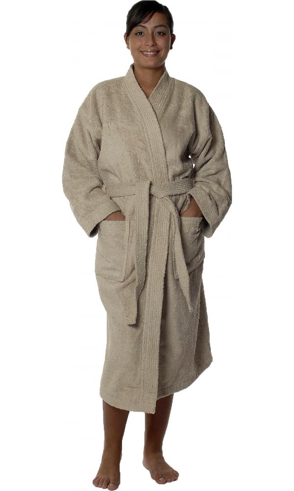 Peignoir col kimono en Coton couleur Ficelle Taille S
