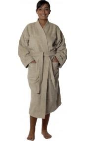 Peignoir col kimono en Coton couleur Ficelle Taille XL