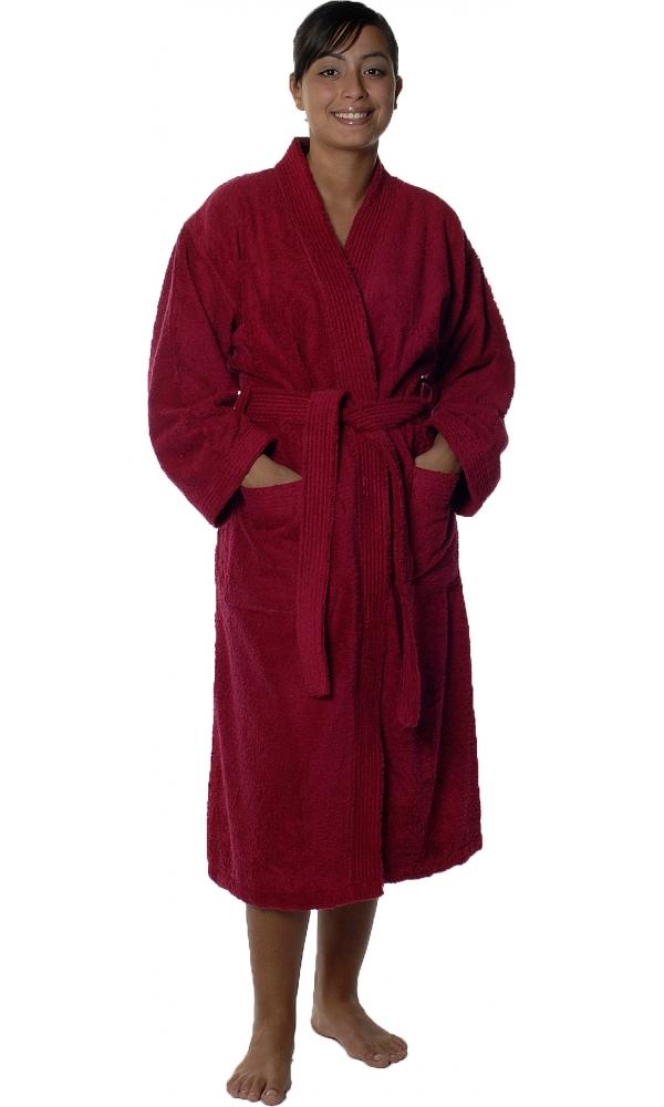 Peignoir col kimono en Coton couleur Fushia Taille S (FUSHIA)