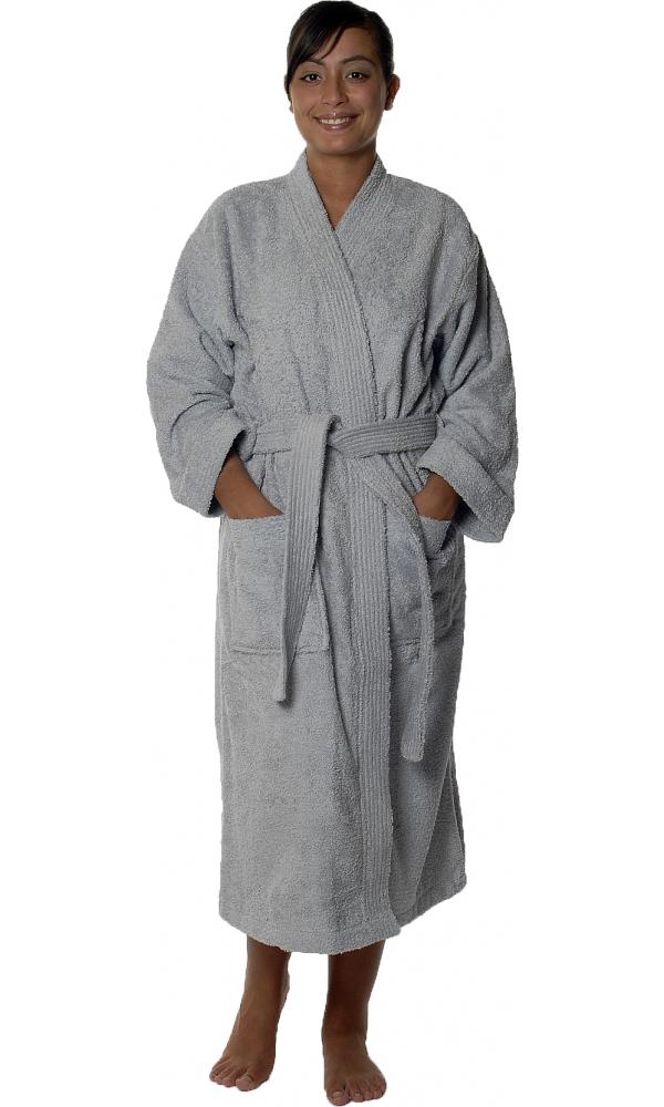 Peignoir col kimono en Coton couleur Gris perle Taille L (Gris Perle)