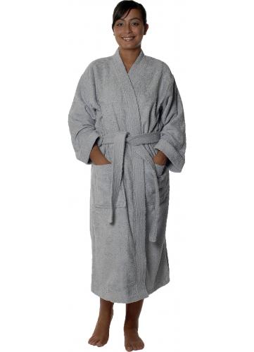 peignoir col kimono en coton couleur gris perle taille s. Black Bedroom Furniture Sets. Home Design Ideas