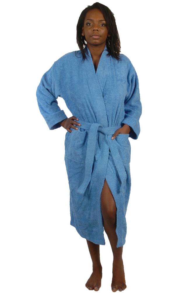 Peignoir col kimono en Coton couleur Lavande Taille L (Lavande)