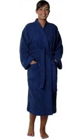 Peignoir col kimono en Coton couleur Marine Taille M