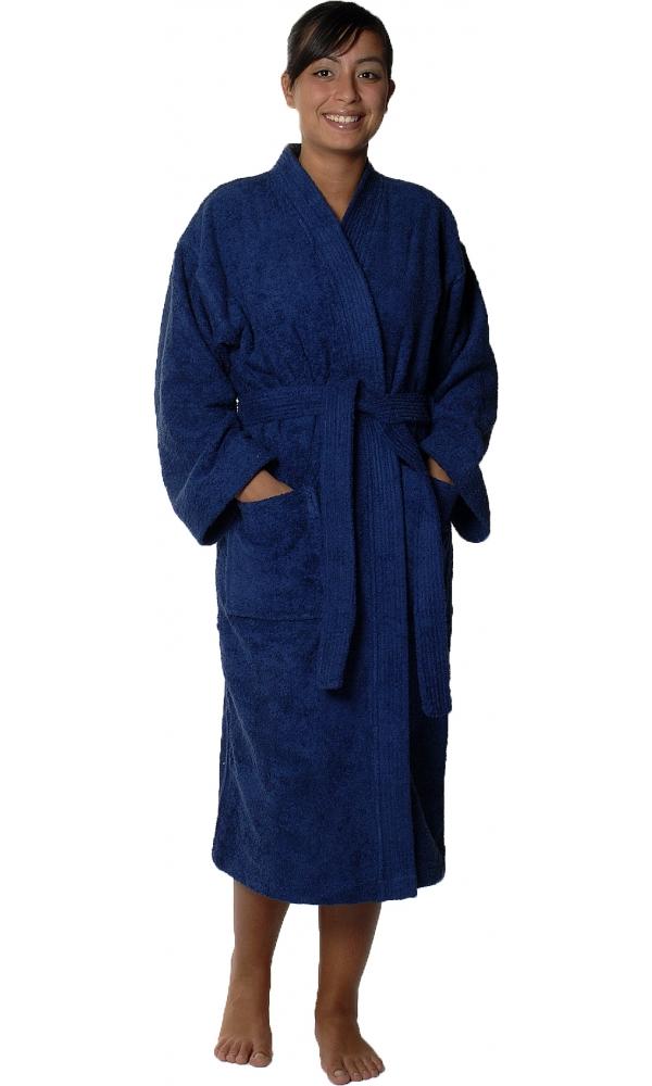 Peignoir col kimono en Coton couleur Marine Taille XL
