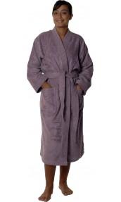 Peignoir col kimono en Coton couleur Mûre Taille L