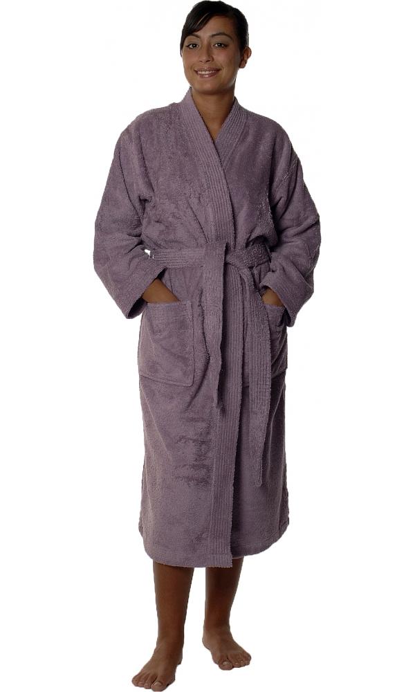 Peignoir col kimono en Coton couleur Mûre Taille S (Mûre)