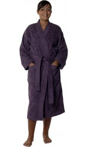 Peignoir col kimono en Coton couleur Myrtille Taille XL