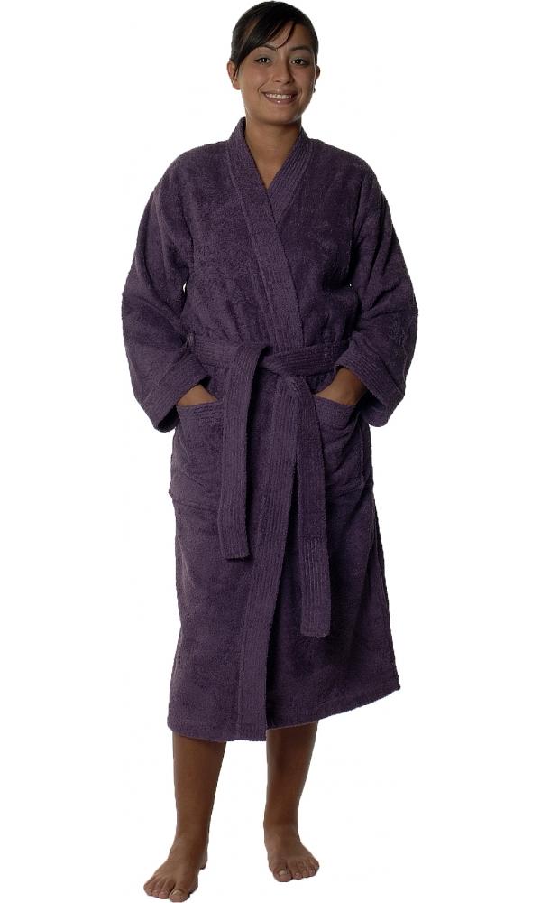 Peignoir col kimono en Coton couleur Myrtille Taille XL (Myrtille)