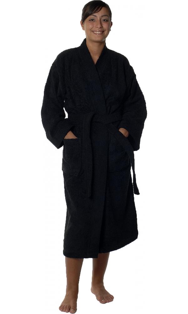 Peignoir col kimono en Coton couleur Noir Taille S (Noir)