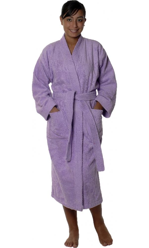 Peignoir col kimono en Coton couleur Parme Taille L (Parme)