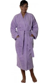 Peignoir col kimono en Coton couleur Parme Taille M