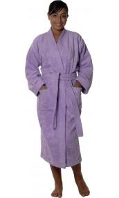 Peignoir col kimono en Coton couleur Parme Taille S