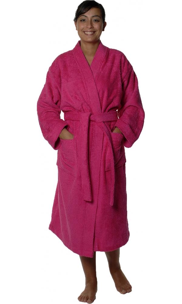 Peignoir col kimono en Coton couleur Rose indien Taille M (Rose Indien)