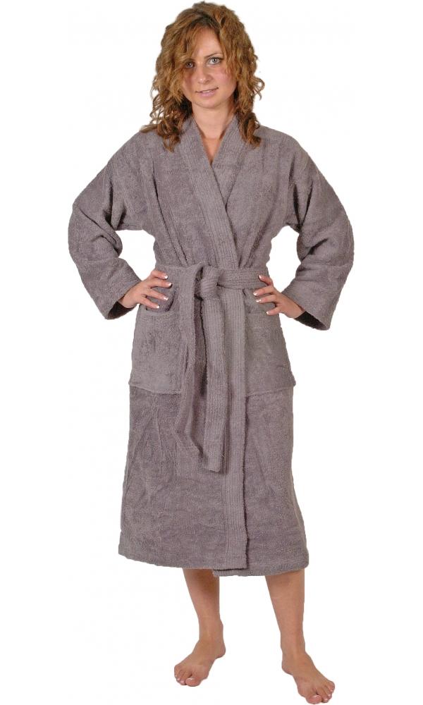 Peignoir col kimono en Coton couleur Silver grey Taille L (Silver Grey)