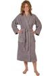 Peignoir col kimono en Coton couleur Silver grey Taille L Silver Grey