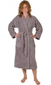 Peignoir col kimono en Coton couleur Silver grey Taille M