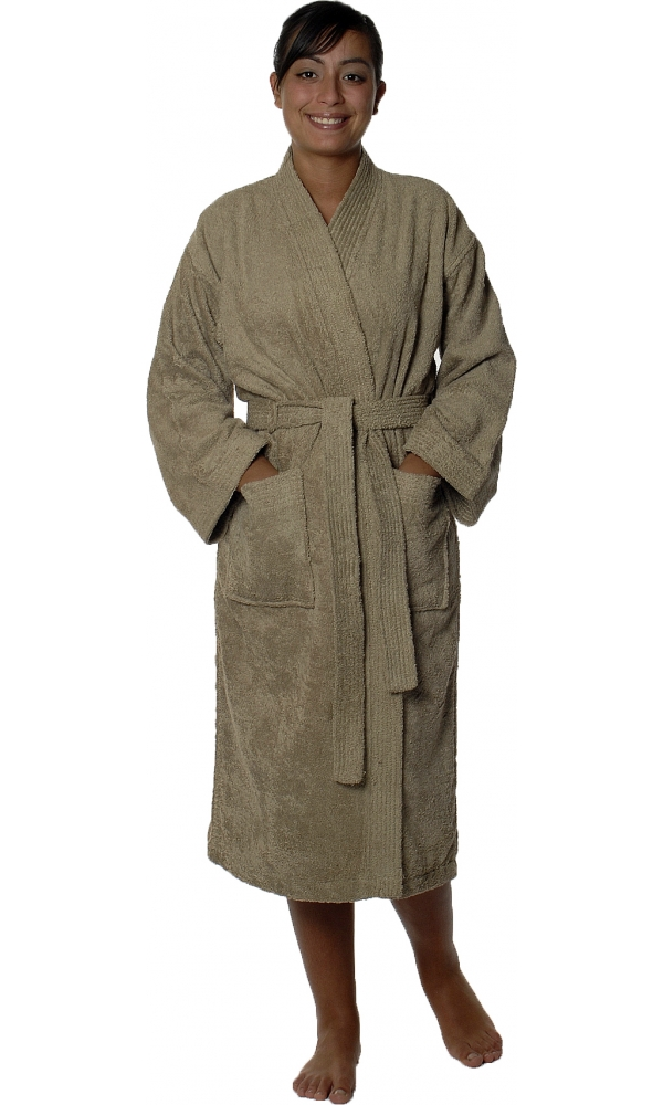 Peignoir col kimono en Coton couleur Taupe Taille L (Taupe)