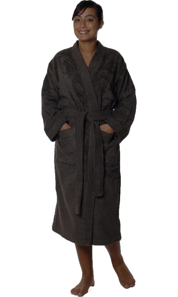 Peignoir col kimono en Coton couleur Vison Taille L (VISON)