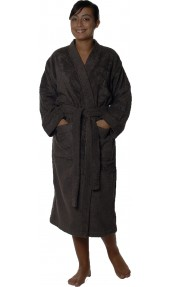 Peignoir col kimono en Coton couleur Vison Taille M