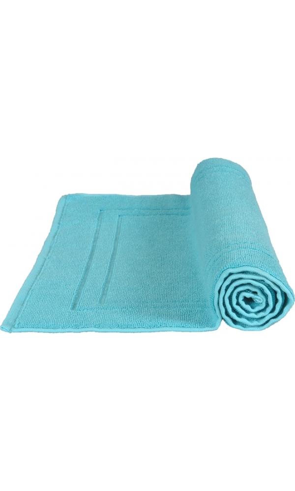 Tapis de bain 50 x 80 cm en Coton couleur Bleu turquoise