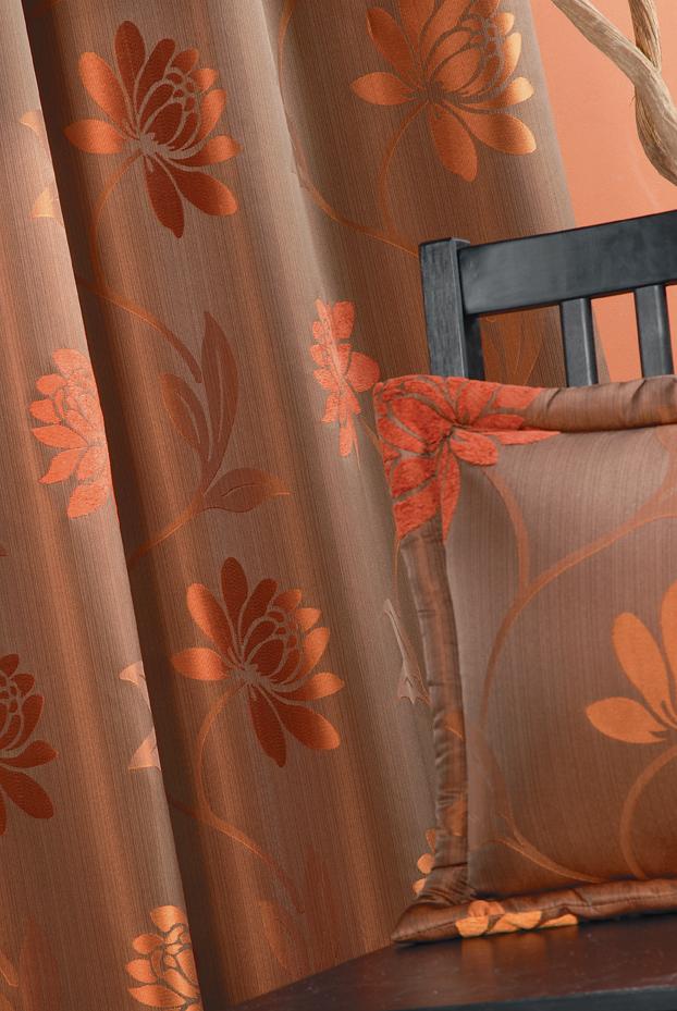 Rideau en Jacquard motif fleurs (Moka)
