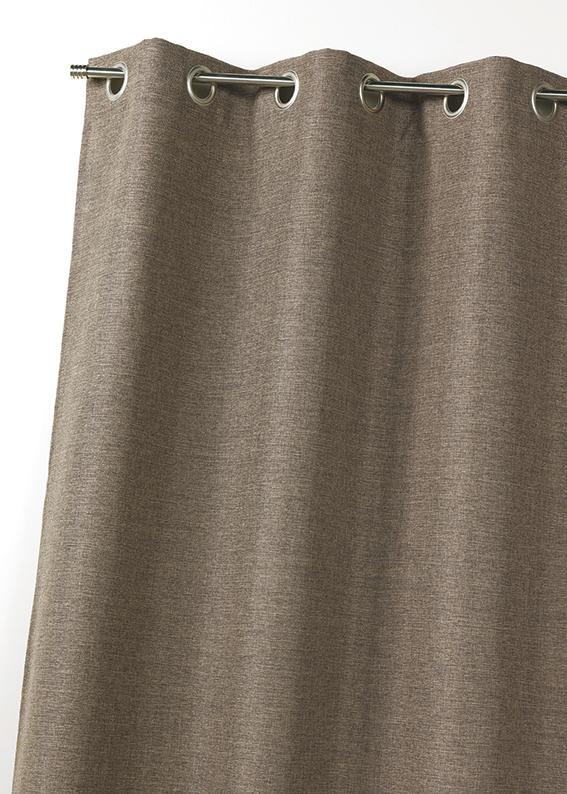 rideau en toile effet lin isolant thermique taupe. Black Bedroom Furniture Sets. Home Design Ideas